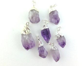 1pcs Natural Amethyst Quartz Pendant - Light Purple Crystal Gemstone -  Rough Nugget Charm - Silver Dipped Raw Stone - Stone Pendant B28