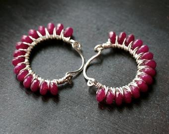Raspberry jade beaded hoops, hoop, dark pink, magenta, red, wire wrapped, sterling silver, stone, Mimi Michele jewelry