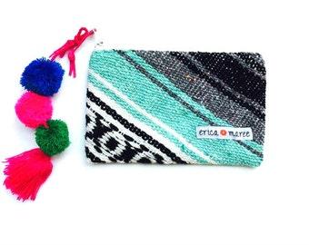 Sac à main mexicaine Serape avec pompons Turquoise