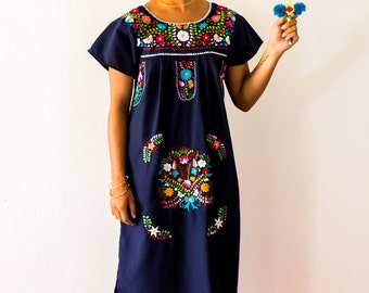 SALE - Navy Blue Mexico Embroidered Dress