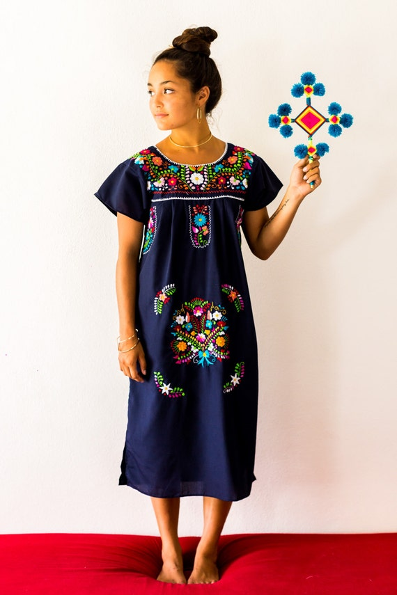 SALE Navy Blue Mexico Embroidered Dress