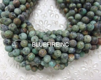 48 pcs 8mm round matte finished African turquoise beads