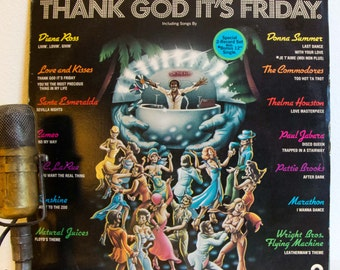 "Disco Vinyl Record LP 1970s Original Movie Soundtrack LP ""Thank God It's Friday"" (1978 Casablanca Records) - Vintage 2Lp set with bonus 12"""