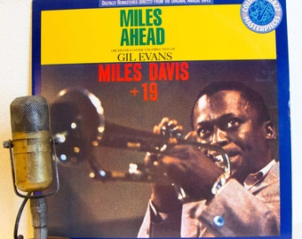 "Miles Davis Vinyl Record Album Lp 1950s Mid-Century Jazz Fusion Third Stream Gil Evans ""Miles Ahead"" (1989 Cbs re-issue w/""Blues For Pablo"""
