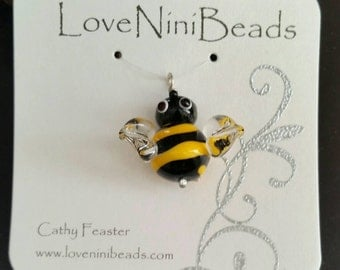 Bee Bee'd Pendant on Sterling Silver Wire