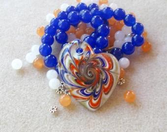 Murano Glass Heart Pendant, Jade Beads, DIY Jewelry Kit, Craft Supplies, Necklace Kit, Bead Kit, Jewelry Making Beads, Jewelry Supplies