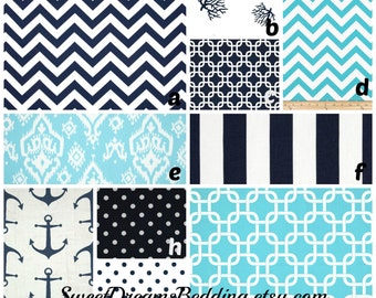 Custom Crib Bedding You Design   in  Bahama Blue and Navy