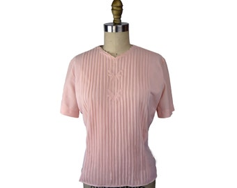 1950s Pink Nylon Blouse