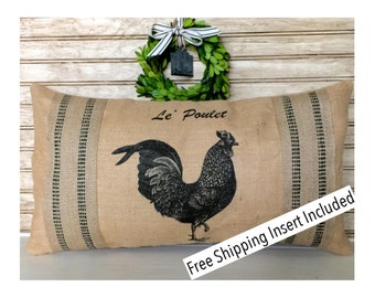 French Rustic Home | Rooster Decor - French Rooster - Burlap Pillow * FREE SHIPPING *