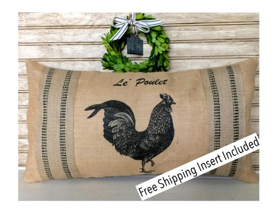 french rustic home rooster decor french rooster burlap