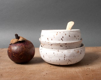 Tapas bowls, White speckled bowls, Danish bowls, Collection of bowls, Small unique bowls, scandinavian pottery, Gift