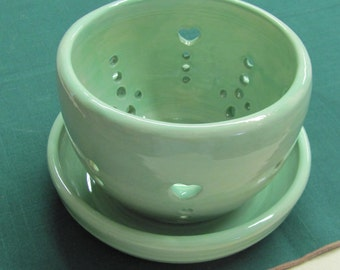 Berry Bowl  Orchid Flower Pot and Drain Plate  Colandar  Ceramic Pottery Stoneware Plate Handmade Ceramic Pottery Turquoise Bowl