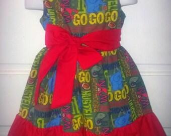 Sleeveless Summer Dress Sesame Street Elmo Cookie Monster Football Boutique 12/18M 24M/2T 3T/4T 5/6 Pageant New