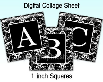 Damask black 1 X 1 inch square images alphabet digital collage sheet printable jewelry making craft supplies instant download (CS 526)