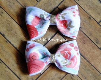 Floral print...Pigtail Mini Bows