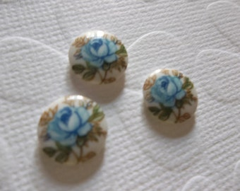 Vintage Decal Picture Stones - Blue Rose on White Cameo -  10mm Round Glass Cabochons - Qty 6