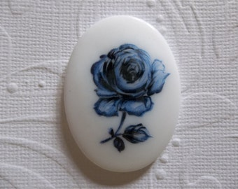 Vintage 40X30mm Glass Cabochons - Blue Rose on White Cameo -  Decal Picture Stones - Qty 1