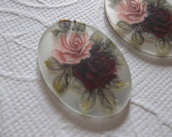 Vintage 25X18mm Glass Cabochons - Red & Pink Roses on Matte Crystal Mirror Base Cameo - Decal Picture Stones - Qty 2
