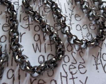 Black Finish Steel Rolo Chain 4.5mm - Qty 70 inch strand (177 cm)