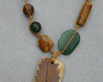 Rustic Ceramic Leaf Pendant with Natural Turquoise, Roman Glass, Bloodstone, Jasper and Agate on Linen Thread & Copper Chain