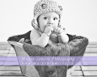 Photo prop Aviator newborn boy hat Baby boy hat Photo prop Knit crochet aviator baby boy hat Photography prop