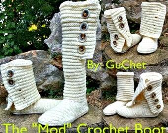 Crochet Boot Pattern - Crochet Shoe Pattern - Crochet Slipper Crochet Boots -The Mod Crochet Boot Pattern - Plus Size Crochet - Guchet