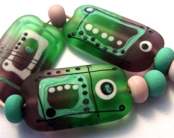 Smokey Love - Handmade Lampwork Bead Set (9) by Anne Schelling, SRA