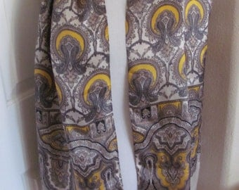 """Lovely Beige Yellow Paisley Acetate Scarf - 14"""" x 60"""" Long"""