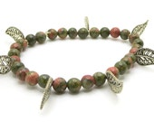 Handmade Beaded Bracelet with real gemstones Unakite stretch bracelet with silver toned leaves, made with semi precious stones