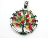 Handmade Swarovski Christmas Tree of Life Pendant - Swarovski - Xmas