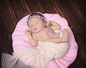 Pink Rose Rhinestone Headband, Baby Bling, Bling Band, Rhinestone Headband, Baby Girl Prop, Photography Prop, Newborn Photo Prop