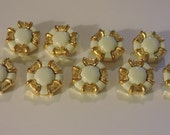 Goldtone and White Octagon Shaped Buttons