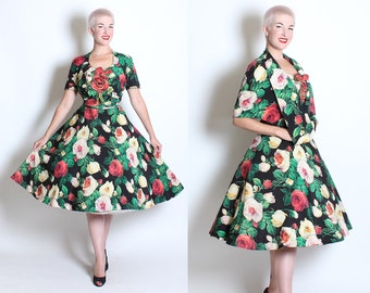 COUTURE Early 1950's New Look Silk Painted Rose Print 2 Piece Party Dress w/ Matching Cape - 3D Rose Bouquet Bust Detail & Attached Belt - L