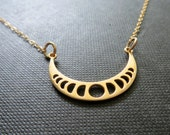 Moon phases necklace, sideways moon charm necklace, celestial jewelry