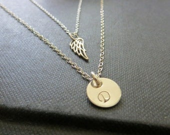 Layered angel wing necklace, initial necklace, sterling silver hand stamped keepsake jewelry, remembrance, family, loss of loved ones