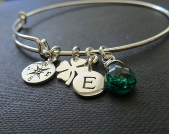 Maid of honor gift, compass bangle with initial charm, bridesmaid birthstone initial bracelet, friendship sterling silver