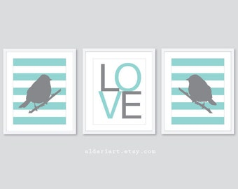 Modern Birds and LOVE Prints - Nursery Art Prints - Set of 3 Prints - Birds Art - Love Art Print - Baby Girl Nursery Decor - Blue and Grey