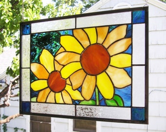 """Summer Sunflowers 1 --12.5"""" x 16.5""""   Stained Glass Window Panel"""