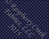 Navy Blue and White Pin Polka Dot 4 Way Stretch Jersey Knit Fabric, Club Fabrics