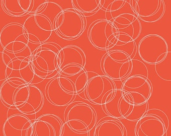 Coral Rust and White Geometric Circle Cotton Fabric, Four Corners by Simple Simon for Riley Blake Designs, Circle Print in Coral, 1 Yard