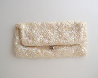Pastel Rainbows...1950s beaded sequin clutch fold-over kisslock clasp