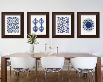 Set of 4 Indigo Blue Watercolor Art Prints Moroccan, Tribal, Boho Wall Art 8x10 or 11x14