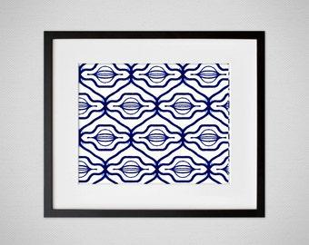 Indigo Blue Boho Pattern, Tribal Wall Art 8x10 or 11x14 Landscape