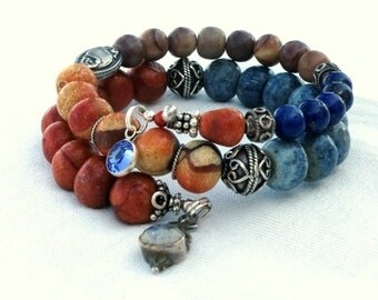 Philippines Coral and Bali Silver -  Memory Wire Bracelet