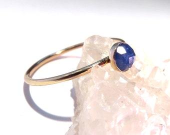 Sapphire Ring, Gold Sapphire Ring, Sapphire stacking ring, September Birthstone Ring, September Gemstone Ring, Gold stacking ring