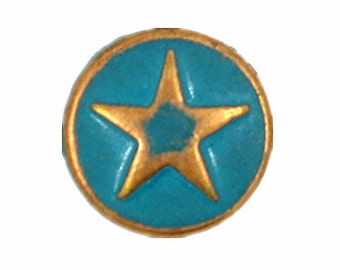 Copper Star with Cyan Painting Metal Rivet Sets - 0.31 inch - 10 pieces