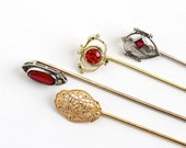 Sale - Antique Gold Fill Silver Tone Gold Tone Stick Pins - Vintage Early 1900s Edwardian Art Deco Red Stone Filigree Choose Variety Jewelry