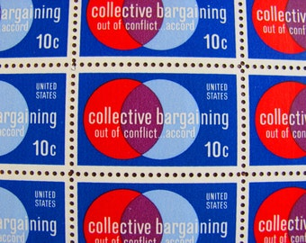 Mod Circles Full Sheet of 50 Vintage UNused US Postage Stamps Collective Bargaining 1970s 10c Scott 1558 Save the Date Wedding Postage Red