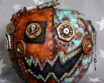 "Pirate Steampunk, embellished, foiled gourd, hand painted, 7"" diameter x 9"" tall"