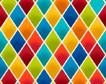 Salsa  Multicolor Diamonds Cotton Quilt Fabric by the 1/2 yard